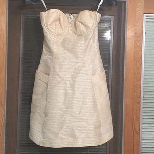 BNWOT BEBE GOLD & CREAM STRAPLESS DRESS